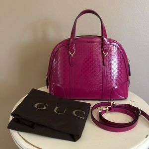 Gucci Microguccisima Top Handle Bag,Fuchsia Patent